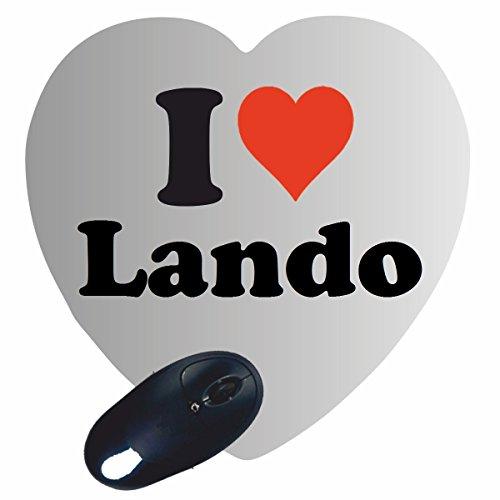 """Regali Esclusivi: Cuore Tappetini per il Mouse """"I Love Lando"""", un Grande regalo viene dal Cuore - Ti amo - Mouse Pad - Antisdrucciolevole - Punte di Natale"""