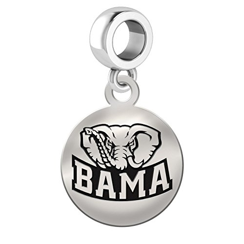 Alabama Crimson Tide Sterling Silver Round Drop Charm Fits All European Style Charm Bracelets