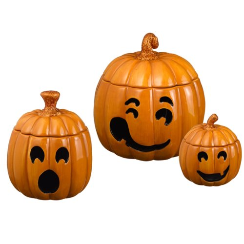 Grasslands Road Pumpkin Patch Jack o Lantern Tealight Holder Set, Three Styles