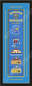 Heritage Banner Of Denver Nuggets With Team Color Double Matting-Framed Awesome &... by Art and More, Davenport, IA