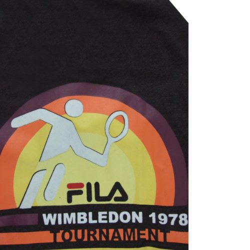 Mens Fila Vintage Wimbledon 78 Brown Retro Tennis T-Shirt Top Tee Size S