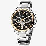 [エイキ] EYKI 腕 時計 高級 感 のある かっこいい クロノグラフ メンズ [インポート]  (メンズ, 黒 × ゴールド)