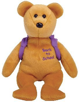 "Ty Books the bear - Purple Backpack and ""Back to School"" Embroidery on chest - Beanie Baby"
