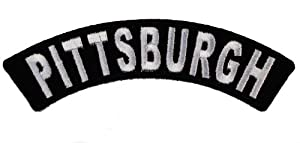 PITTSBURGH City Rocker Iron or Sew on Embroidered Biker Shoulder Patch D37 at Steeler Mania