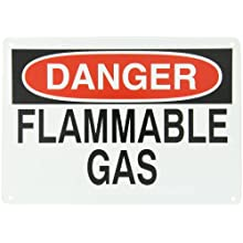 "Brady 25661 10"" Height, 14"" Width, B-401 Plastic, Black And Red On White Color Chemical And Hazardous Materials Sign, Legend ""Danger, Flammable Gas"""