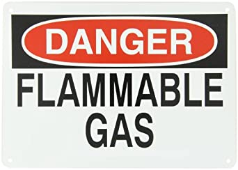 "Brady Black And Red On White Color Chemical And Hazardous Materials Sign, Legend ""Danger, Flammable Gas"""