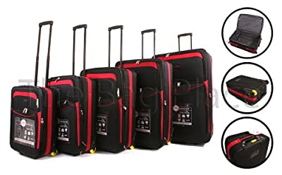 Black Red Cities 5 piece, 2 wheeled suitcases, lightweight nylon set cabin bag set