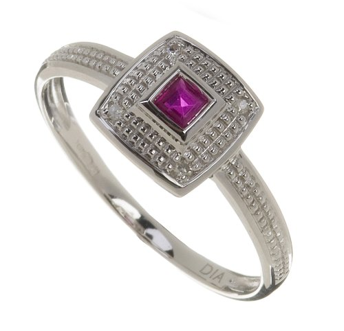Ladies' 9ct White Gold Diamond and Ruby Cluster
