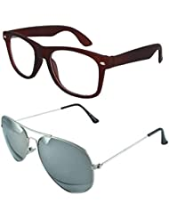 Sheomy Unisex Combo Pack Of Transparent Brown Wayfarer Sunglasses And Silver Mercury Aviator Sunglasses For Men...