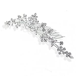 Bling Jewelry Rhinestone Crystal Wildflower Princess Bridal Tiara Comb