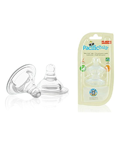 Pacific Baby Wide Neck Teats, Slow Flow, 2-Count