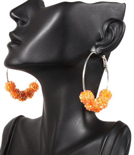 Orange Basketball Wives Hoop Earrings with 5 Iced Out Disco Balls Poparazzi