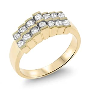 0.44CTW 14K Yellow Gold Genuine Natural Diamond Ring Size 6.75