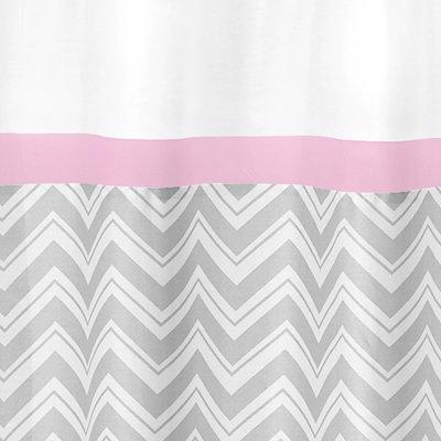 Sweet Jojo Designs Pink and Gray Chevron Zig Zag Kids Bathroom Fabric Bath Shower Curtain