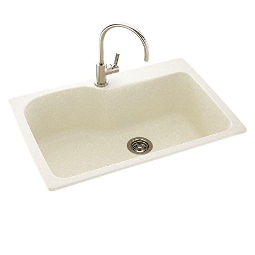 Swanstone - Dual Mount Composite 33x22x10 1-Hole Single Bowl Kitchen Sink in Tahiti Ivory - Tahiti Ivory swanstone dual mount composite 33x22x10 1 hole single bowl kitchen sink in tahiti ivory tahiti ivory