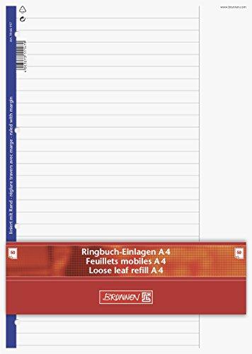 brunnen-1066917-ringbucheinlagen-a4-liniert-mit-rand-lineatur-25-50-blatt-70g-m