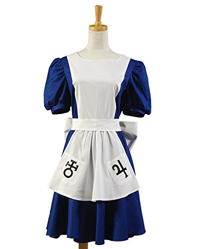 American McGee's Alice Madness Returns Cosplay Costume Classic Maid Dress Apron