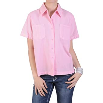Brinley Co Womens Short Sleeve Point Collar Button Up Camp