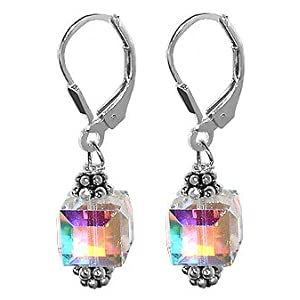 "scer013 Romantic Genuine Crystals Sterling Silver Designer Leverback 1"" Long Dangle Earrings MADE WITH SWAROVSKI ELEMENTS"