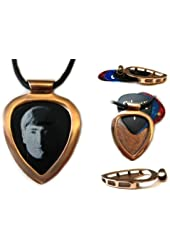 PICKBAY Red Gold IPG Guitar PICK Holder pendant w JOHN LENNON Guitar pick (The Beatles) w 27' adjustable 2mm leather cord necklace
