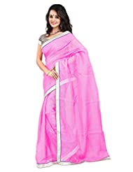 7 Colors Lifestyle Light Pink Coloured Super Net Embroidered Saree