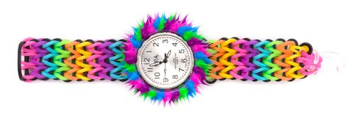 Black Multicolor Silicone Fun Weevz Watch With White Face And Spiky Cover
