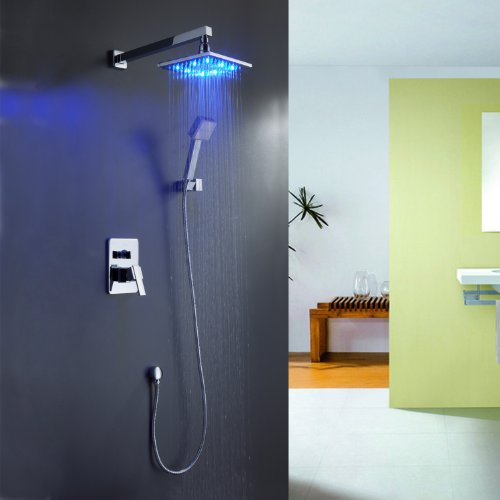 Sprinkle Color Changing LED Shower Faucet with Wall Mount Square 8 Inch Fixed Shower Head Handheld Shower Head Shower System with Shower Arm and Holder Single Handle Lavatory Plumbing Fixtures Ceramic
