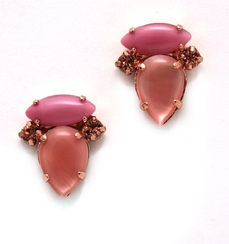 Post Earrings from 'Love and Tenderness' 2013 Collection by Amaro Jewelry Studio Set with Rose Quartz, Pink Aventurine, Pink Mussel, Coral Salmon and Swarovski Crystals; Rhodium Plated; Handmade in Israel