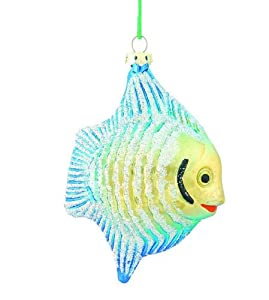 Barcana 4.5-Inch Shatterproof Fish Ornaments, Turquoise and Gold, Set of 4 Ornaments