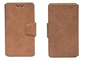 J Cover Sylvester Series Leather Pouch Flip Case With Silicon Holder For ZTE Blade X5  Brown