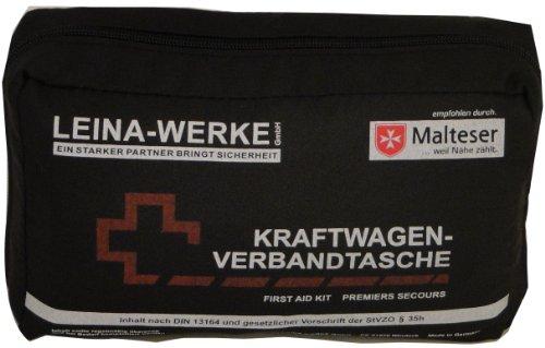 Leina-73602-Verbandtasche-DIN-13164-mit-Rettungsdecke-sortiert-schwarz-rot
