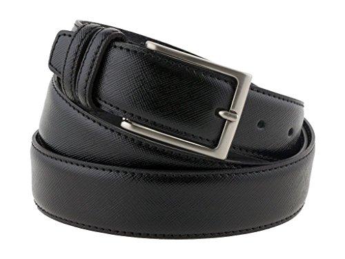 Cintura uomo in pelle color nero classica, elegante, artigianale, modello Prada, e made in Italy - 3,5 cm (110 cm (42/44 - 44/46 EU))