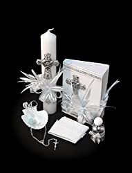 Beautiful Baby Baptism Complete Gift Set. Gift Rosary, Candle, New Testament, Shell, Handkerchief Gift Boxed from SF