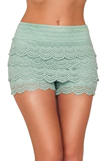 Posh Elegant Sexy Fitted Chic Lace Layered Sophisticated Summer Casual Shorts (Medium, MINT)