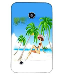 Fuson Beach Girl Back Case Cover for NOKIA LUMIA 530 - D4113