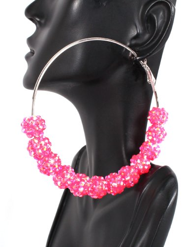 Basketball Wives Pink Shamballah 3 Inch Hoop Earrings with 12 Disco Balls Poparazzi