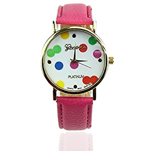 Estone Lovely Fashion Elegant Leather Ladies Stainless Quartz Wave Point Wrist Watch (Hot Pink)