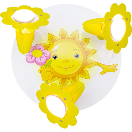 Kinder Lampe Rondell Sonne mit Blume Deckenleuchte Kinderzimmer Holz, gelb 127339