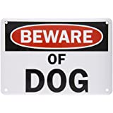 "SmartSign Aluminum Sign, Legend ""Beware of Dog"", 7"" high x 10"" wide, Black/Red on White"