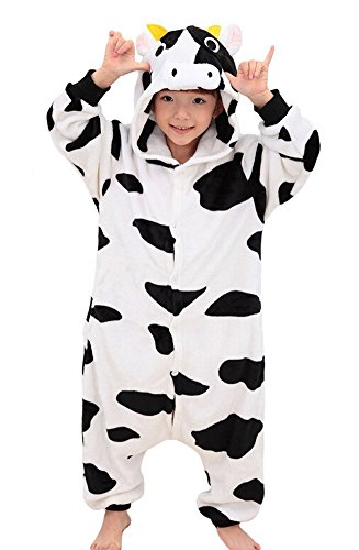 iNewbetter Childrens Pajamas Animal Onesies Cosplay Homewear (105(Height 115-125cm), Cow)