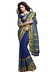 Fabulous Blue Wedding Wear Saree Zari Designer Work Cotton Sari