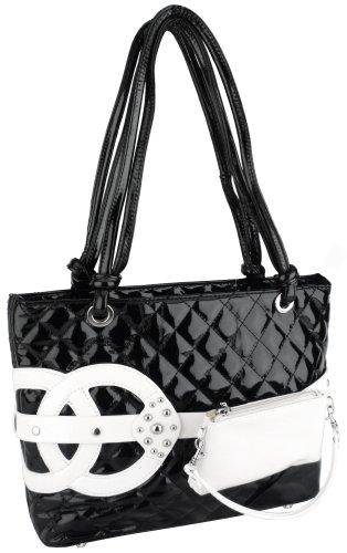 Fashion Black Quilted White Wristlet Pocket Decor PU Patent Leather Shopper Tote Satchel Handbag Purse / Double Knotted Handles