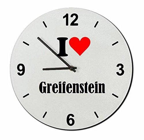 """Regali Esclusivi: Orologi da parete """"I Love Greifenstein"""", un Grande regalo viene dal Cuore - Ti amo - Orologio vetro - Punte di Natale"""
