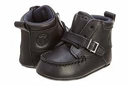 Ralph Lauren Layette Ranger Hi,Black Leather,2 M US Infant