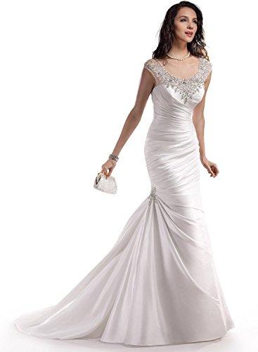 Mori Lady Women's Straps Mermaid Crystal Wedding Dresses US20 White
