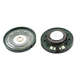 uxcell 35mm Diameter Aluminum Shell Internal Magnet Speaker 16 Ohm 0.25W 2Pcs