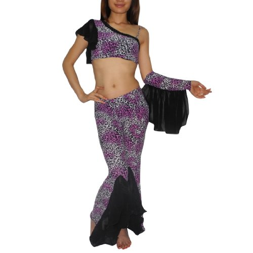 3Pcs:Belly Dance Ladies Cropped Top,Skirt Pant & Ruffle Sleeve Costume Set