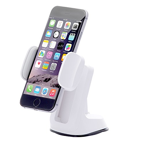 Dash Crab Duet - Cell Phone Car Mount Holder, Multiple Viewing Angles with Height Adjustable Smart Grip, Dashboard Windshield Mount for iPhone 5s 6s Plus Galaxy S7 S6 Edge Note 5 4 -Retail Pack(White)