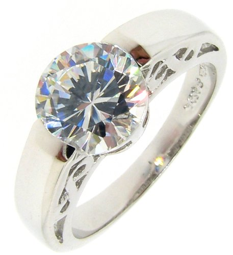 7mm CZ Solitaire Sterling Silver Engagement Ring, 5 [Jewelry]