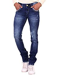 Kavis Mid Waist Dark Blue Colored Slim Fit Men's Jeans - B016WG2KVM